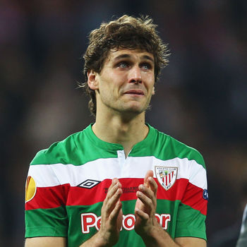 BUCHAREST, ROMANIA - MAY 09: Fernando Llorente of Athletic Bilbao shows his dejection at the end of the UEFA Europa League Final between Atletico Madrid and Athletic Bilbao at the National Arena on May 9, 2012 in Bucharest, Romania. (Photo by Alex Grimm/Getty Images)